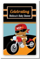 Motorcycle African American Baby Boy - Custom Large Rectangle Baby Shower Sticker/Labels