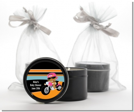 Motorcycle African American Baby Girl - Baby Shower Black Candle Tin Favors