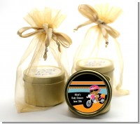 Motorcycle African American Baby Girl - Baby Shower Gold Tin Candle Favors