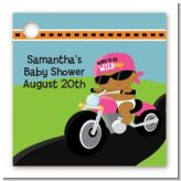 Motorcycle African American Baby Girl - Personalized Baby Shower Card Stock Favor Tags