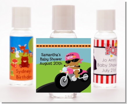 Motorcycle African American Baby Girl - Personalized Baby Shower Hand Sanitizers Favors