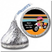 Motorcycle African American Baby Girl - Hershey Kiss Baby Shower Sticker Labels