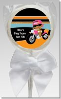 Motorcycle African American Baby Girl - Personalized Baby Shower Lollipop Favors