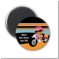 Motorcycle African American Baby Girl - Personalized Baby Shower Magnet Favors