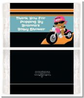Motorcycle African American Baby Girl - Personalized Popcorn Wrapper Baby Shower Favors