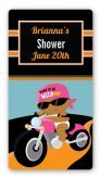 Motorcycle African American Baby Girl - Custom Rectangle Baby Shower Sticker/Labels