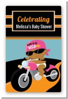 Motorcycle African American Baby Girl - Custom Large Rectangle Baby Shower Sticker/Labels
