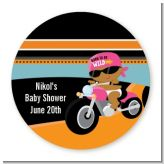 Motorcycle African American Baby Girl - Round Personalized Baby Shower Sticker Labels