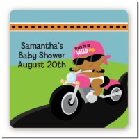 Motorcycle African American Baby Girl - Square Personalized Baby Shower Sticker Labels