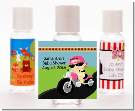 Motorcycle Baby Girl - Personalized Baby Shower Hand Sanitizers Favors