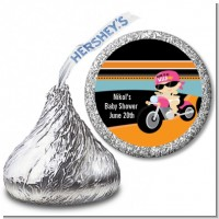 Motorcycle Baby Girl - Hershey Kiss Baby Shower Sticker Labels