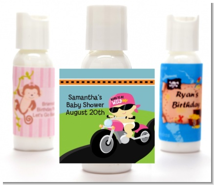 Motorcycle Baby Girl - Personalized Baby Shower Lotion Favors