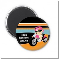 Motorcycle Baby Girl - Personalized Baby Shower Magnet Favors