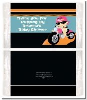 Motorcycle Baby Girl - Personalized Popcorn Wrapper Baby Shower Favors