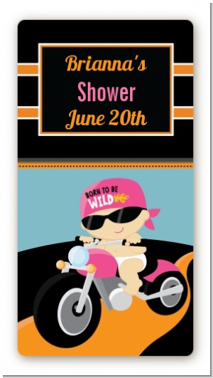 Motorcycle Baby Girl - Custom Rectangle Baby Shower Sticker/Labels