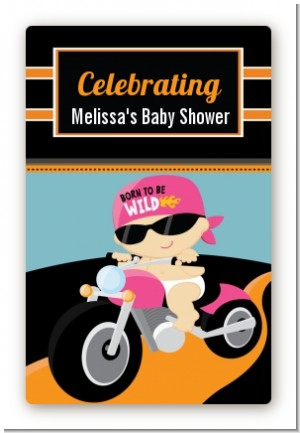 Motorcycle Baby Girl - Custom Large Rectangle Baby Shower Sticker/Labels