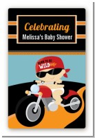 Motorcycle Baby - Custom Large Rectangle Baby Shower Sticker/Labels