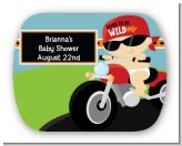 Motorcycle Baby - Personalized Baby Shower Rounded Corner Stickers