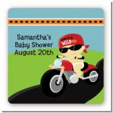 Motorcycle Baby - Square Personalized Baby Shower Sticker Labels