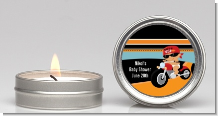 Motorcycle Hispanic Baby Boy - Baby Shower Candle Favors