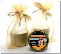 Motorcycle Hispanic Baby Boy - Baby Shower Gold Tin Candle Favors