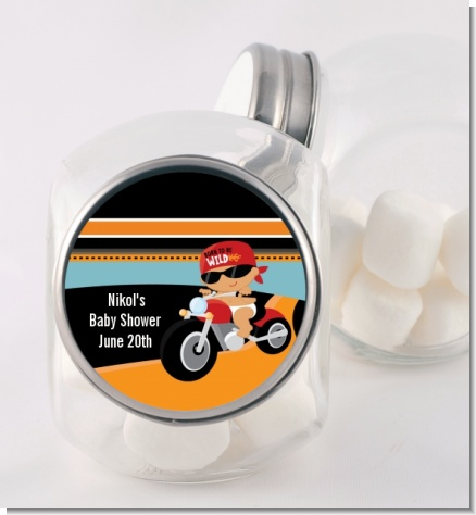 Motorcycle Hispanic Baby Boy - Personalized Baby Shower Candy Jar