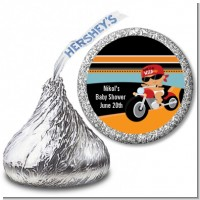 Motorcycle Hispanic Baby Boy - Hershey Kiss Baby Shower Sticker Labels