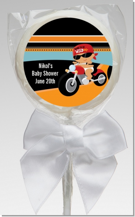 Motorcycle Hispanic Baby Boy - Personalized Baby Shower Lollipop Favors