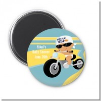 Motorcycle Hispanic Baby Boy - Personalized Baby Shower Magnet Favors