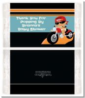 Motorcycle Hispanic Baby Boy - Personalized Popcorn Wrapper Baby Shower Favors