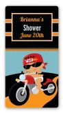 Motorcycle Hispanic Baby Boy - Custom Rectangle Baby Shower Sticker/Labels