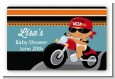 Motorcycle Hispanic Baby Boy - Baby Shower Landscape Sticker/Labels thumbnail