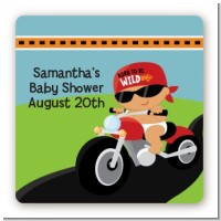 Motorcycle Hispanic Baby Boy - Square Personalized Baby Shower Sticker Labels
