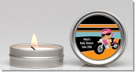 Motorcycle Hispanic Baby Girl - Baby Shower Candle Favors