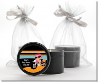 Motorcycle Hispanic Baby Girl - Baby Shower Black Candle Tin Favors