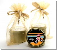 Motorcycle Hispanic Baby Girl - Baby Shower Gold Tin Candle Favors