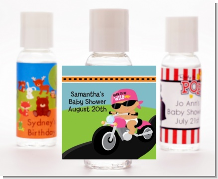 Motorcycle Hispanic Baby Girl - Personalized Baby Shower Hand Sanitizers Favors