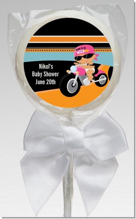 Motorcycle Hispanic Baby Girl - Personalized Baby Shower Lollipop Favors
