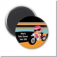 Motorcycle Hispanic Baby Girl - Personalized Baby Shower Magnet Favors