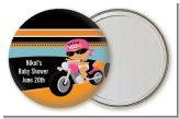 Motorcycle Hispanic Baby Girl - Personalized Baby Shower Pocket Mirror Favors