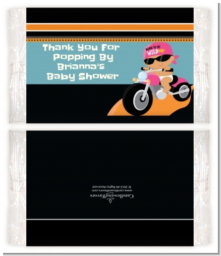 Motorcycle Hispanic Baby Girl - Personalized Popcorn Wrapper Baby Shower Favors