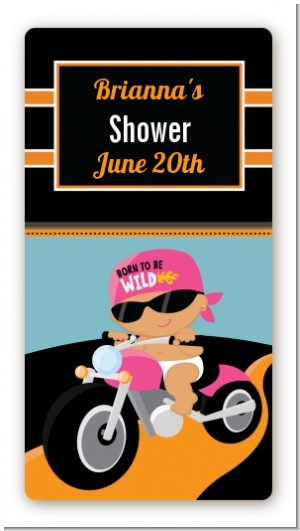 Motorcycle Hispanic Baby Girl - Custom Rectangle Baby Shower Sticker/Labels
