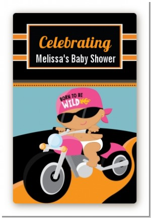Motorcycle Hispanic Baby Girl - Custom Large Rectangle Baby Shower Sticker/Labels