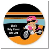 Motorcycle Hispanic Baby Girl - Round Personalized Baby Shower Sticker Labels