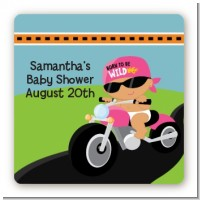 Motorcycle Hispanic Baby Girl - Square Personalized Baby Shower Sticker Labels