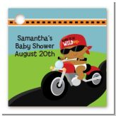 Motorcycle African American Baby Boy - Personalized Baby Shower Card Stock Favor Tags