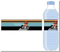 Motorcycle African American Baby Boy - Personalized Baby Shower Water Bottle Labels