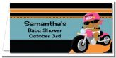 Motorcycle African American Baby Girl - Personalized Baby Shower Place Cards
