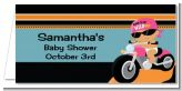 Motorcycle Hispanic Baby Girl - Personalized Baby Shower Place Cards