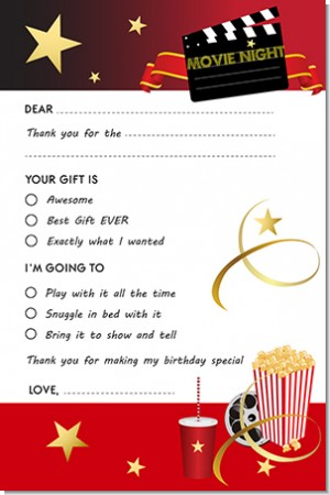 Movie Night - Birthday Party Fill In Thank You Cards